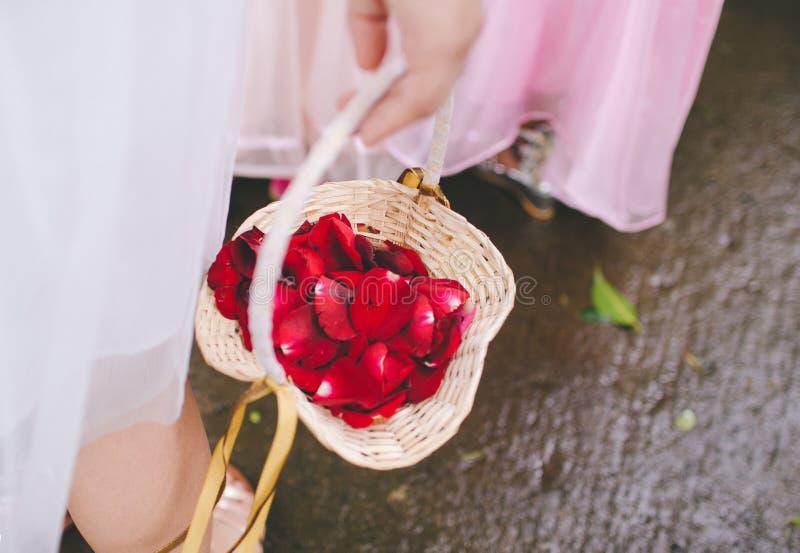 Het houden van een mand van bloemblaadjes royalty-vrije stock fotografie