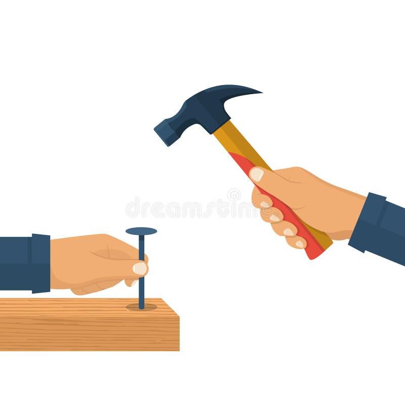 Het houden van in hand hamer en spijker stock illustratie