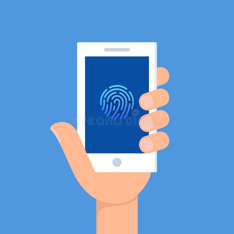 Het houden van Smartphone met het Teken van de Vingerafdrukauthentificatie op het Scherm Identificatie, Controle en Gegevensbesch stock illustratie