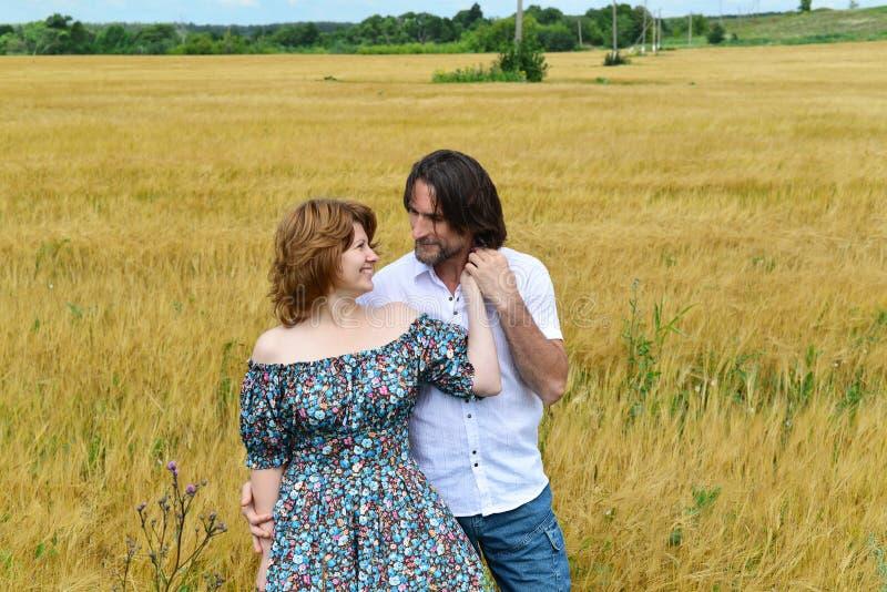 Het houden van van paar die op middelbare leeftijd zich op gebied in de zomer bevinden stock fotografie