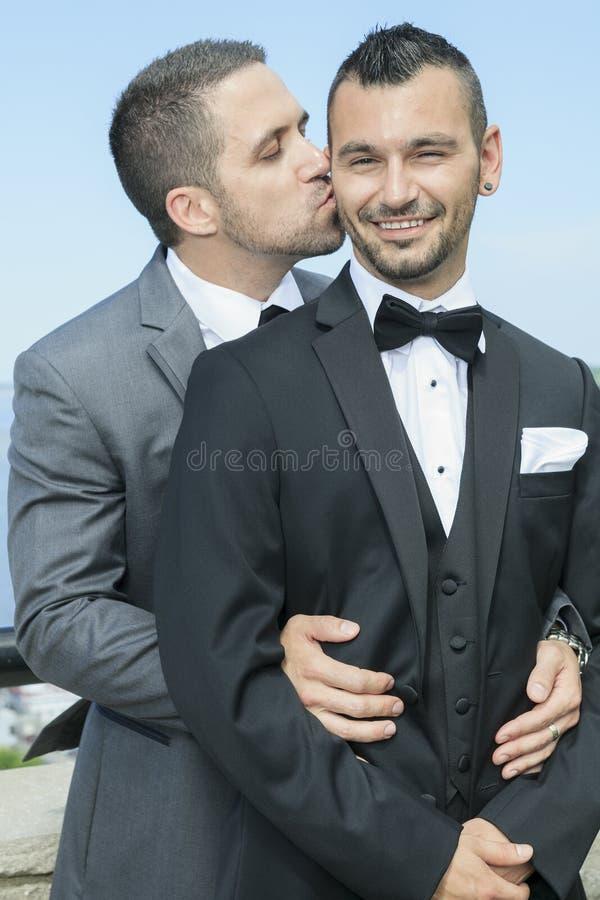 Het houden van van vrolijk mannelijk paar op hun huwelijksdag royalty-vrije stock afbeelding