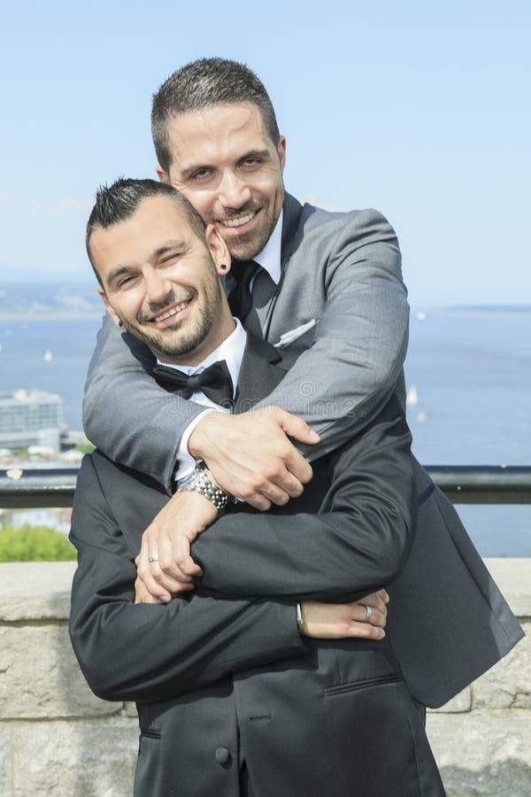 Het houden van van vrolijk mannelijk paar op hun huwelijksdag stock foto's