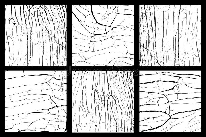 Het hout disstressed geplaatste texturen stock illustratie