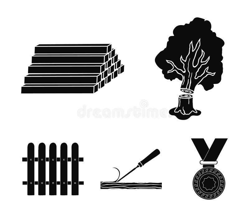 Het hout, opent een stapel, beitel, omheining het programma Timmerhout en hout vastgestelde inzamelingspictogrammen in de zwarte  stock illustratie
