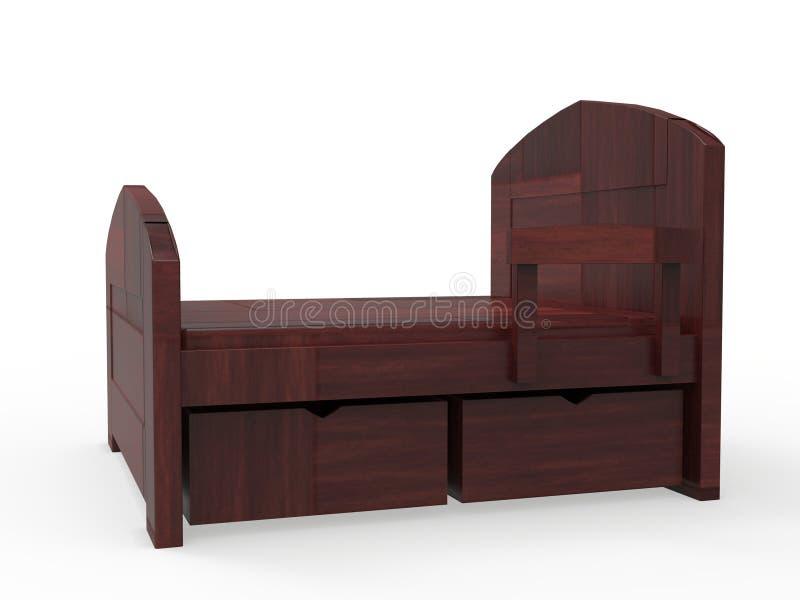 Het houten Bed 3D teruggeven stock illustratie