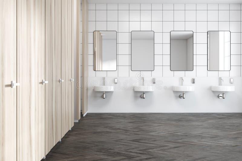 Het houten binnenland van het muur openbare toilet, gootstenen royalty-vrije illustratie