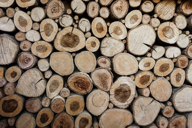 Het houten cirkelspatroon van cutted boomboomstammen De ronde stukken zijn van verschillende grootte Abstracte achtergrond, Houte stock fotografie