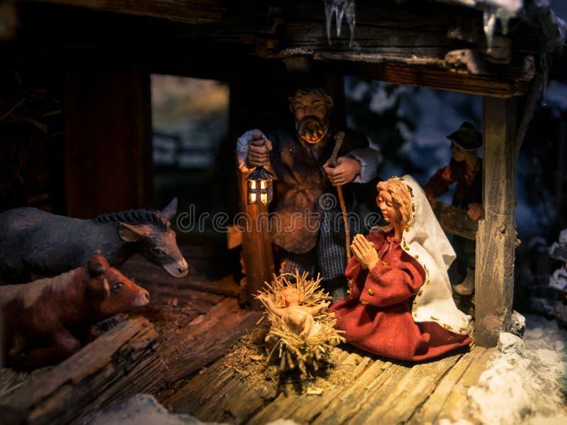 Het houten detail van Kerstmisvoederbakken royalty-vrije stock afbeeldingen