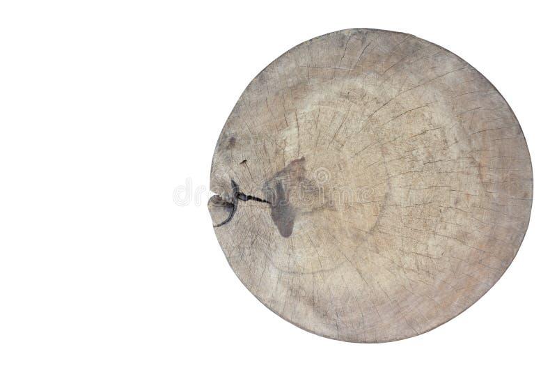 Het houten die hakbord is een keukenmateriaal op witte achtergrond wordt geïsoleerd royalty-vrije stock foto's