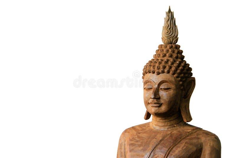 Het houten die standbeeld van Boedha op witte achtergrond wordt geïsoleerd stock afbeeldingen