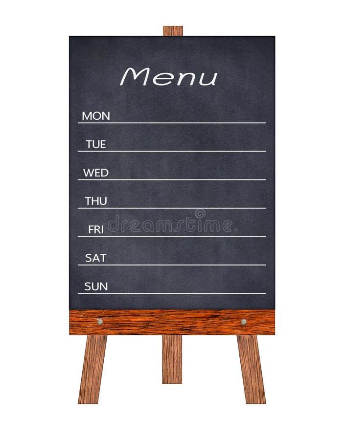Het houten die Teken van de menuvertoning, het berichtraad van het Kaderrestaurant, op witte achtergrond wordt geïsoleerd royalty-vrije stock foto's