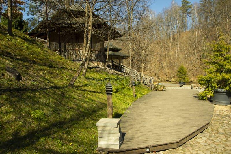 Het houten die terras met een huis naast een heuvel door grasbomen en geel Afrikaans madeliefje wordt behandeld bloeit stock afbeeldingen