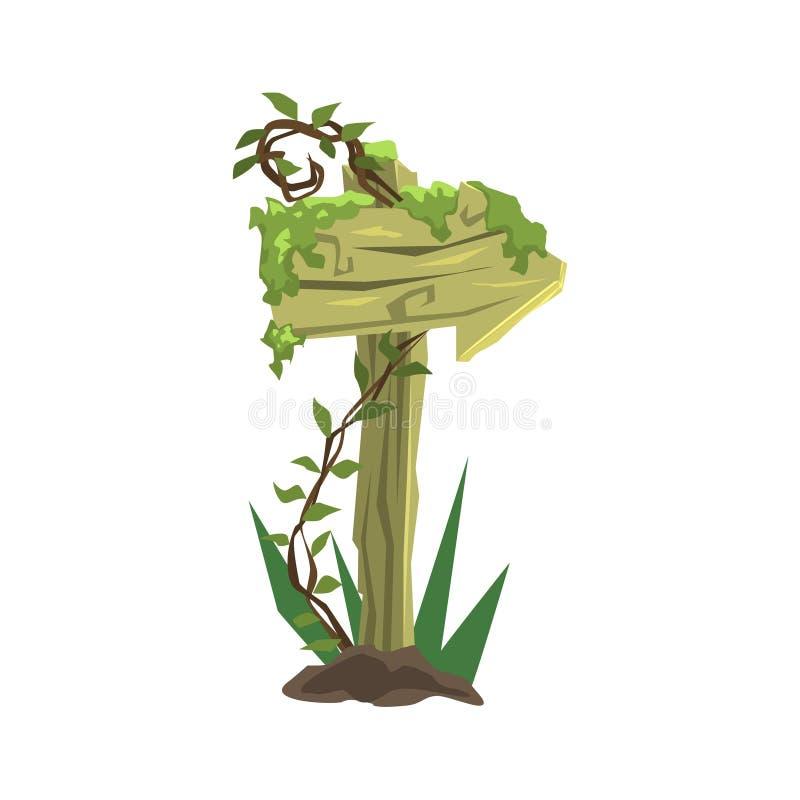 Het houten Element van het de Wildernislandschap van Pijlverkeersteken royalty-vrije illustratie
