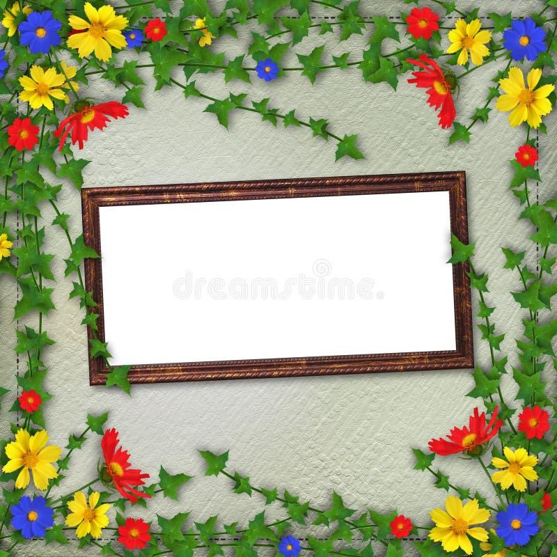 Het houten frame van Grunge met bos van bloemen stock illustratie