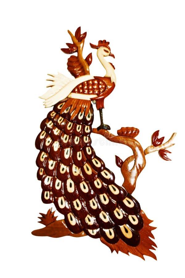 Het houten gesneden art. van de pauwmuur royalty-vrije illustratie