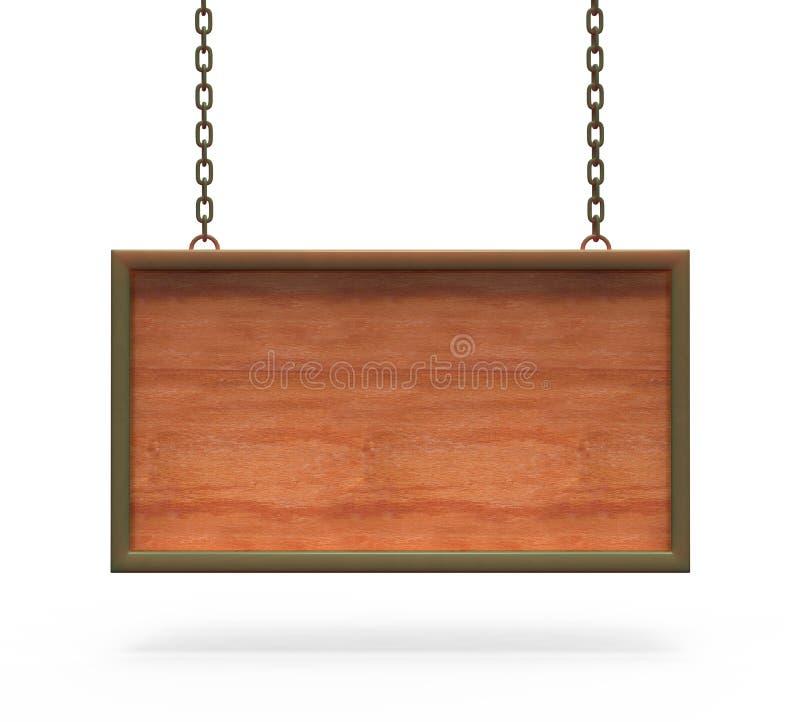 Het houten hangen van de Raad van het Teken op de kettingen. stock illustratie