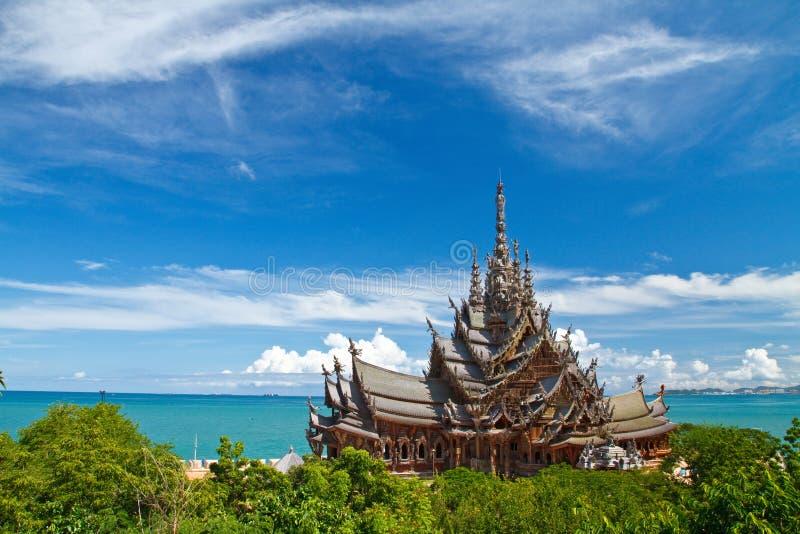 Het houten Heiligdom van Waarheid in Pattaya stock fotografie