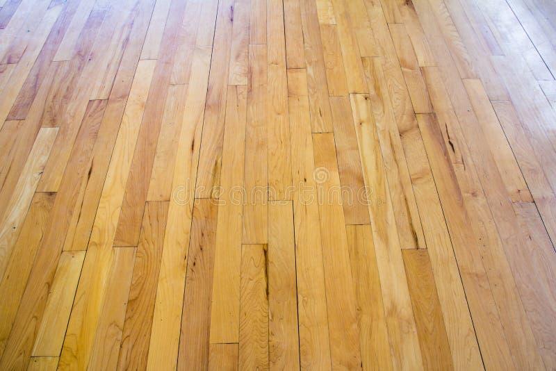 Het houten hof van het vloerbasketbal stock foto
