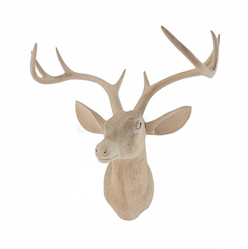 Het houten Hoofd van Herten royalty-vrije stock afbeelding