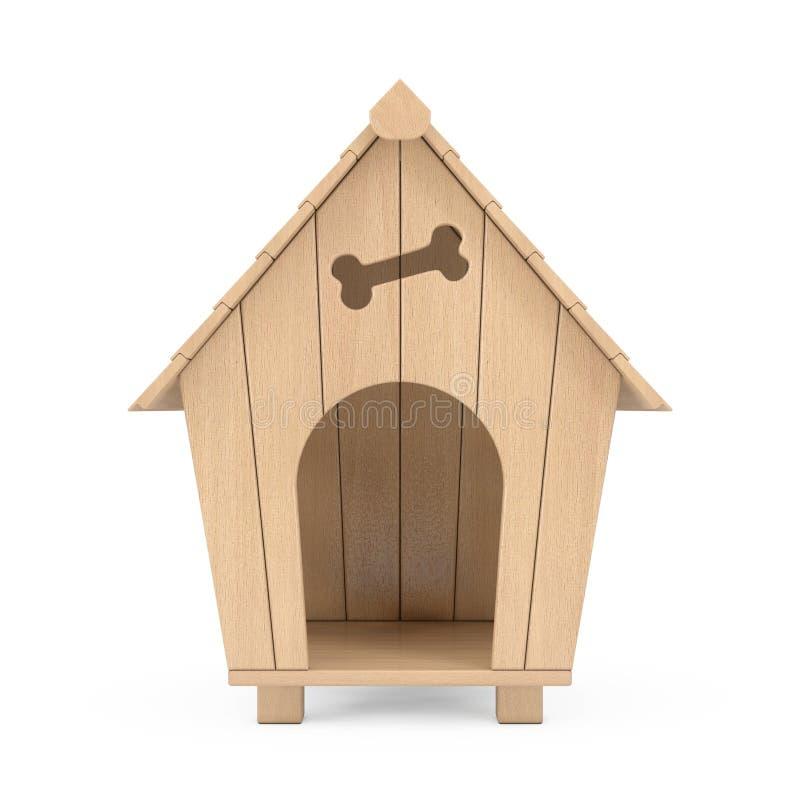 Het houten Huis van de Beeldverhaalhond het 3d teruggeven vector illustratie