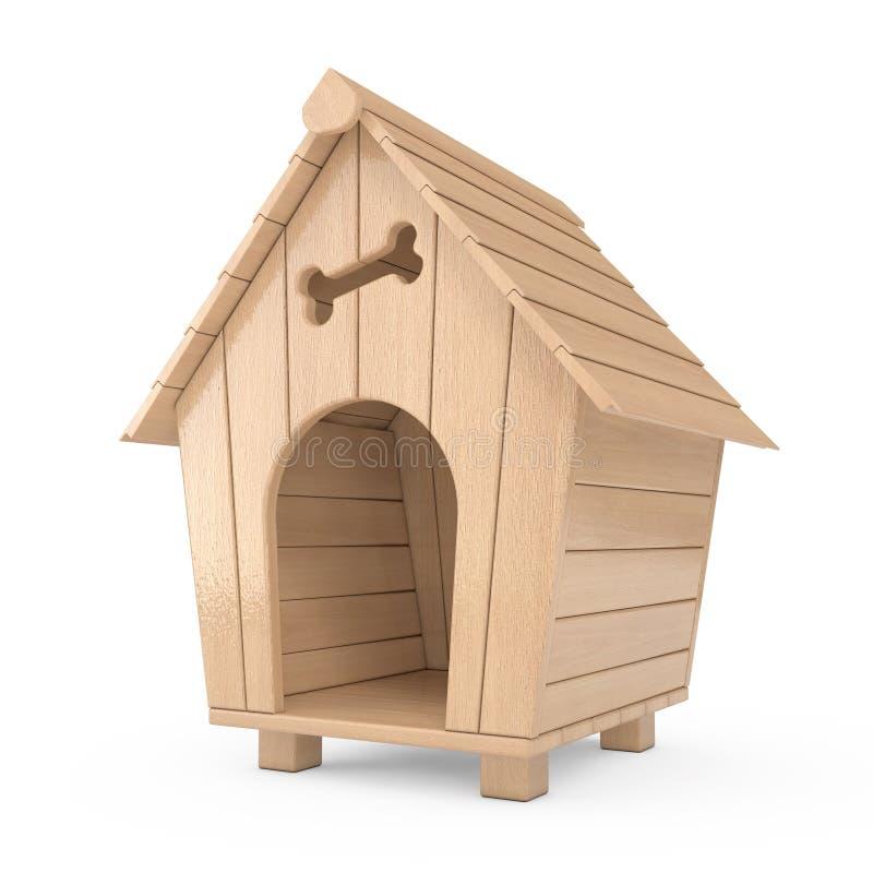 Het houten Huis van de Beeldverhaalhond het 3d teruggeven royalty-vrije stock afbeelding