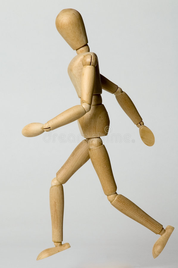Het houten mens lopen royalty-vrije stock fotografie