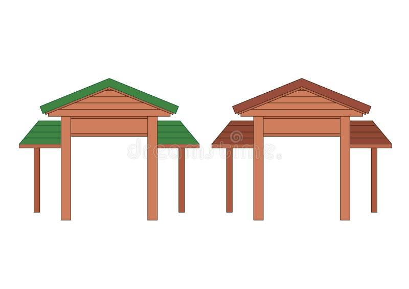 Het houten ontwerp Thailand van de ingangsdeur en Azi? vector illustratie
