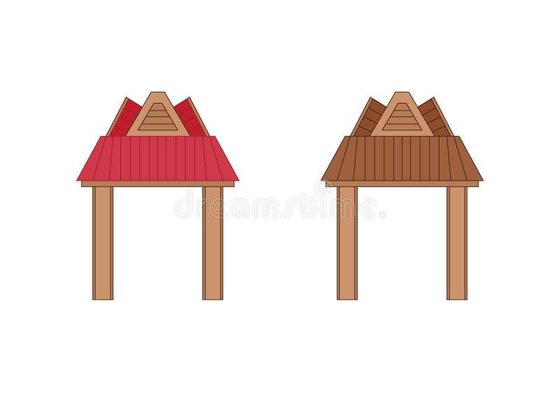 Het houten ontwerp Thailand van de ingangsdeur en Azi? stock illustratie
