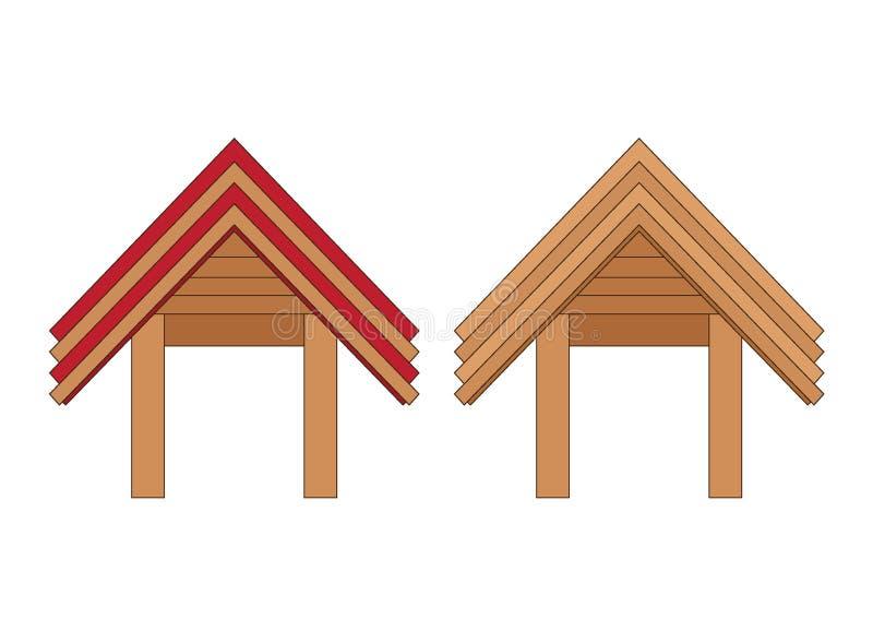 Het houten ontwerp Thailand van de ingangsdeur en Azi? op witte achtergrondillustratievector stock illustratie
