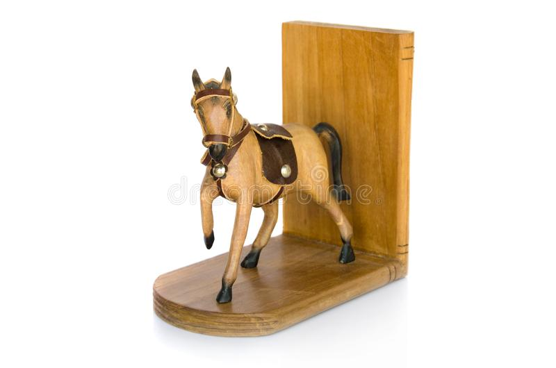 Het houten paard isoleert op witte achtergrond royalty-vrije stock foto