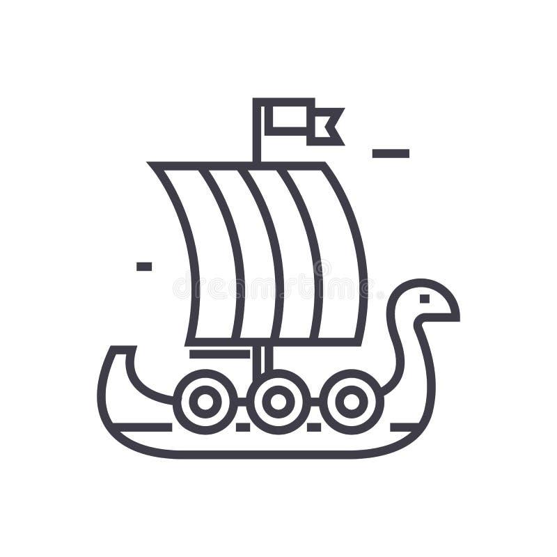 Het houten pictogram van de het schip vectorlijn van Viking, teken, illustratie op achtergrond, editable slagen royalty-vrije illustratie