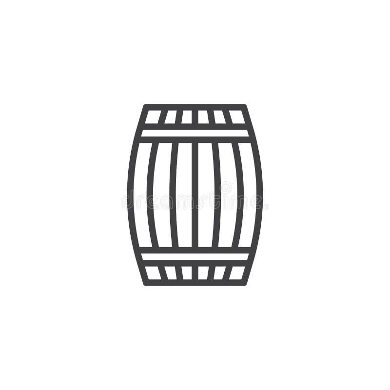 Het houten pictogram van de vatlijn vector illustratie