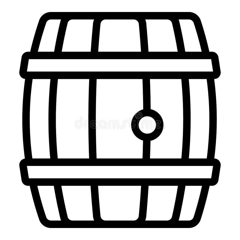 Het houten pictogram van het whiskyvat, overzichtsstijl royalty-vrije illustratie