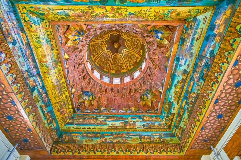 Het houten plafond in Koptisch Museum, Kaïro, Egypte stock foto