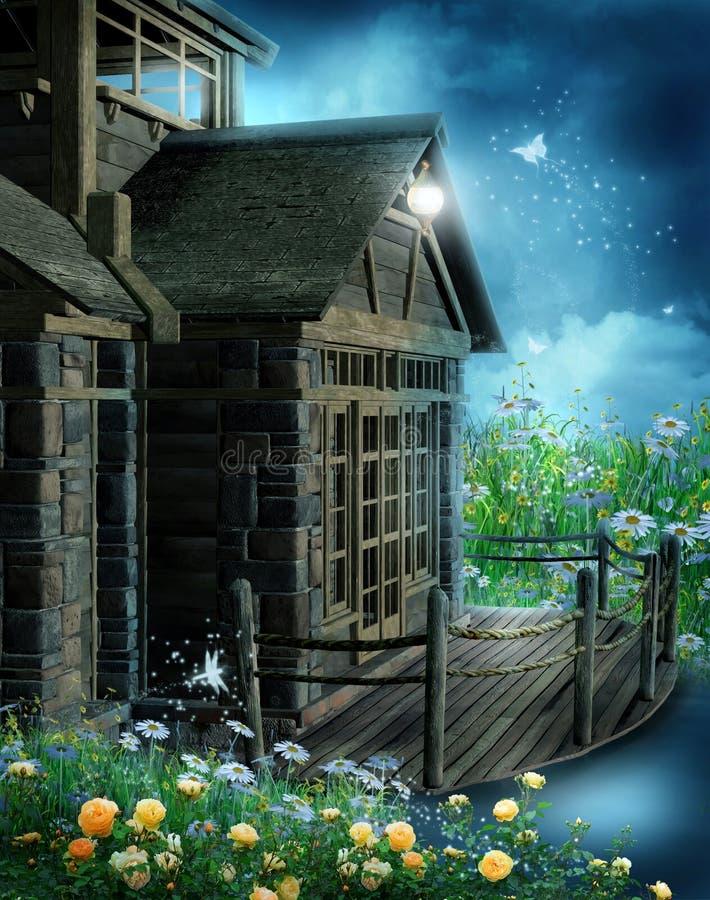Het houten plattelandshuisje van de fantasie stock illustratie