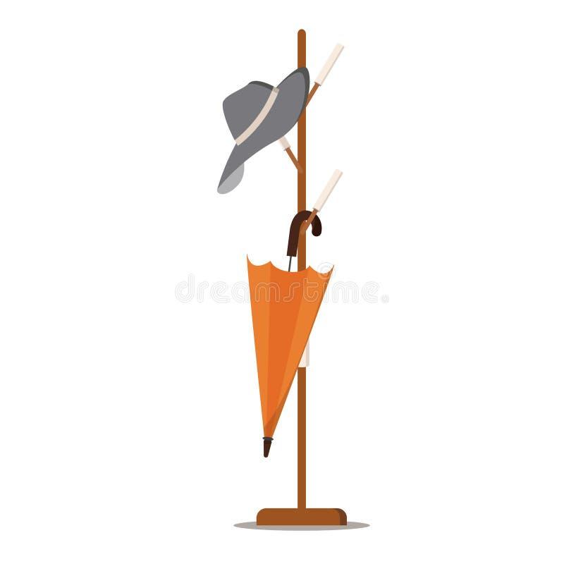 Het houten rek van de vloerlaag - hanger voor cothes met hoed en paraplu stock afbeelding