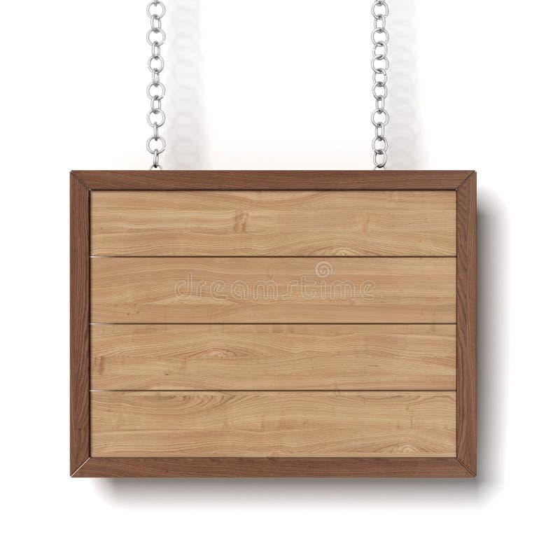 Het houten teken hangen op een ketting stock illustratie