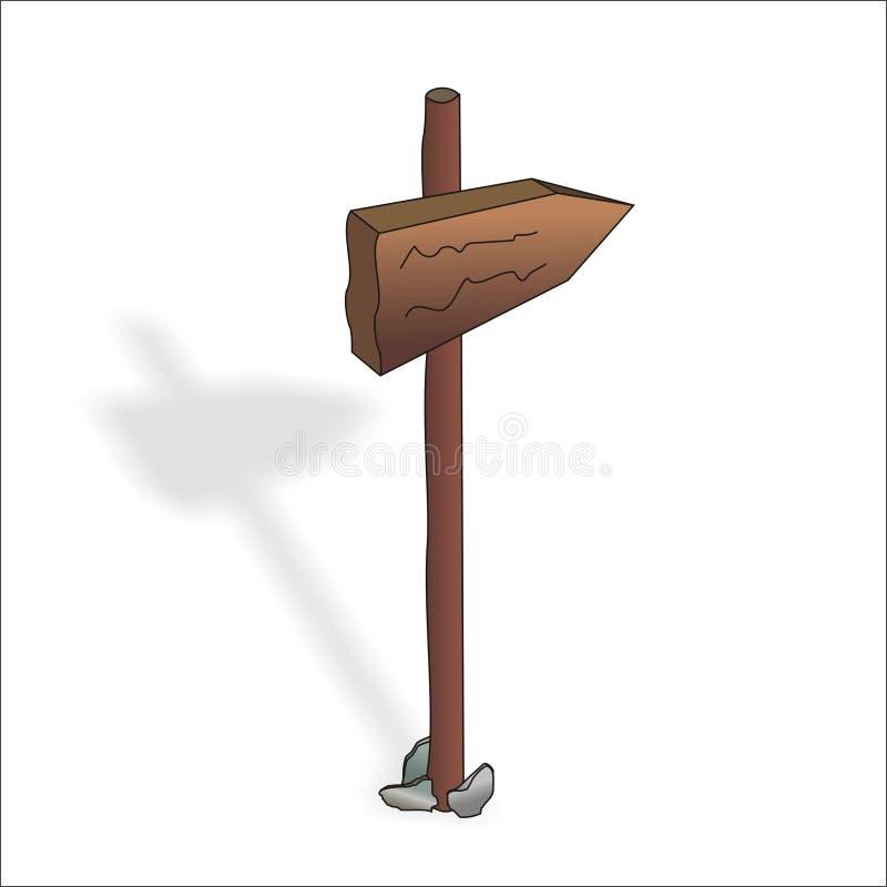 Het houten teken, recht stock afbeelding