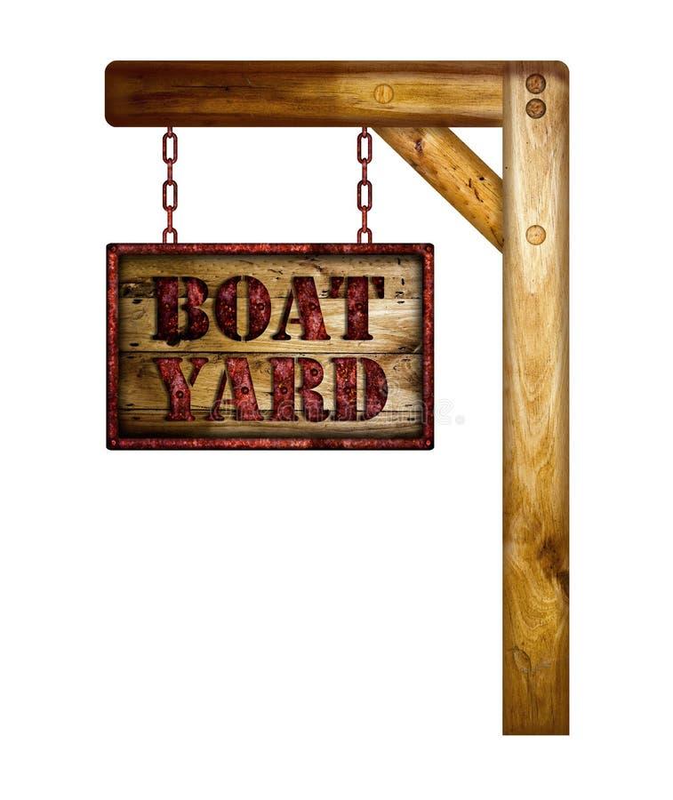 Het houten teken van de bootwerf stock illustratie