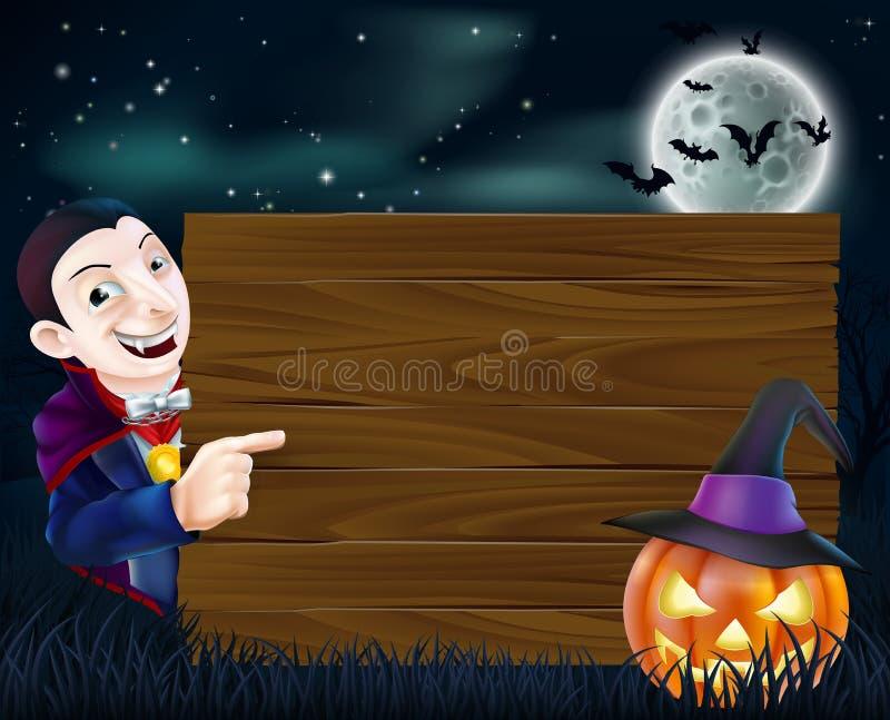 Het houten teken van Halloween Dracula royalty-vrije illustratie