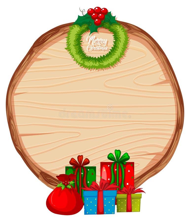 Het houten thema van bannerkerstmis stock illustratie