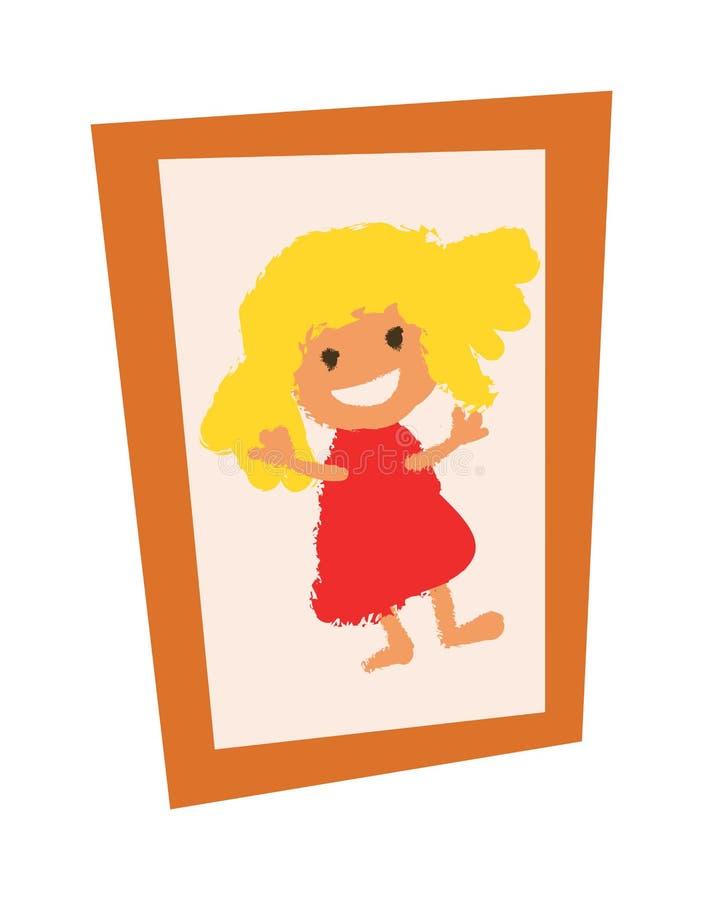 Het houten uitstekende kader van de beeldfoto met meisjes vlakke vector royalty-vrije illustratie