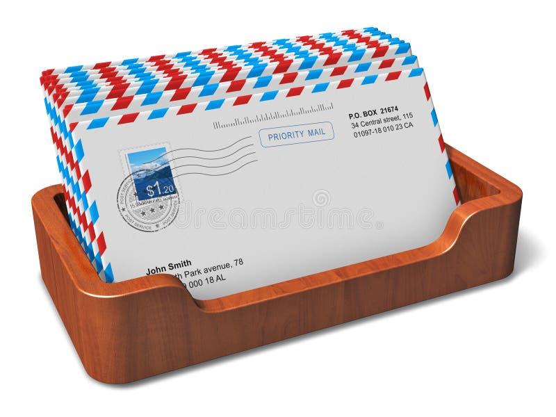 Het houten vakje van de bureauDesktop met brieven vector illustratie