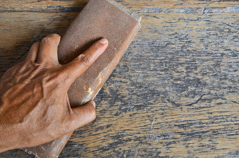 Het houten vloer oppoetsen royalty-vrije stock foto