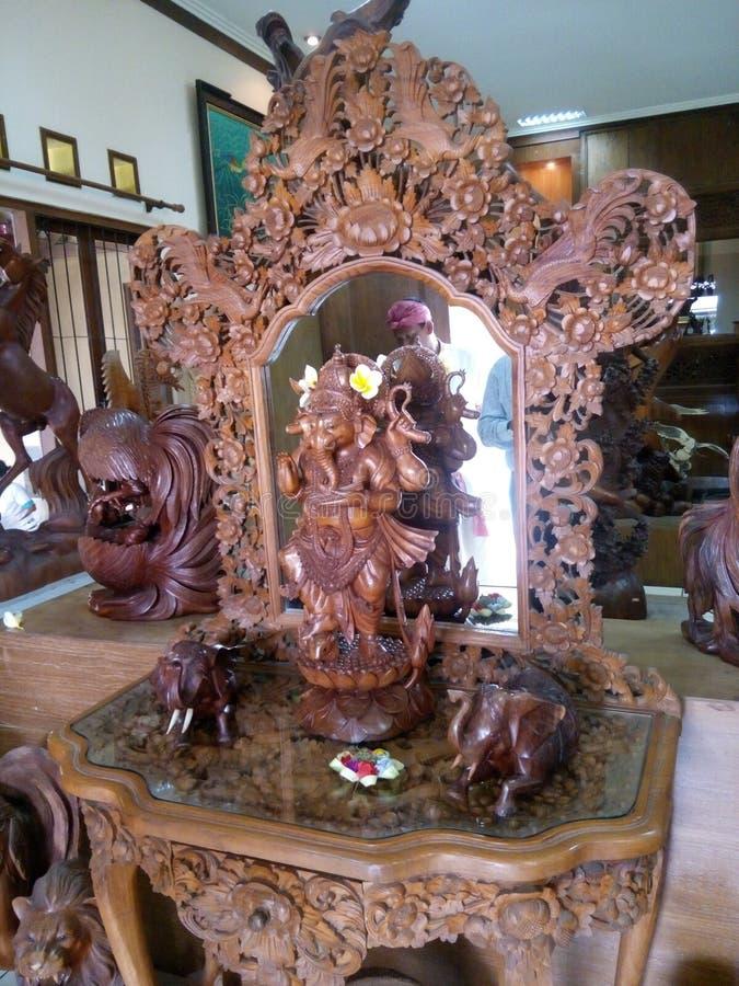 Het houten werk bij Ubud-dorp Bali royalty-vrije stock foto's