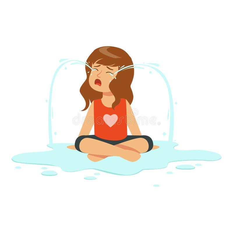 Het huilen de zitting van het meisjeskarakter op de vloer in een vulklei van scheuren vectorillustratie vector illustratie