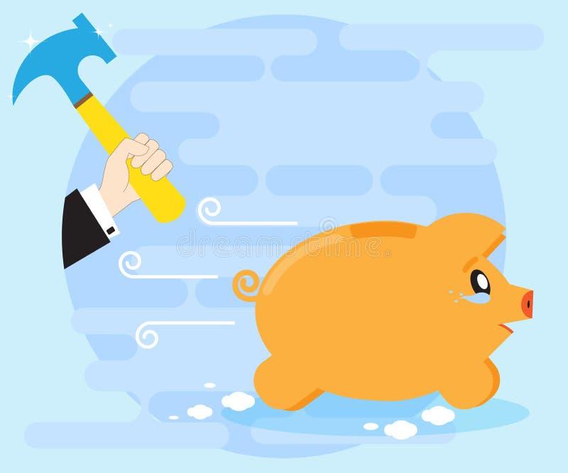 Het huilen van piggy varkensbank ontsnapt van de handen van een zakenman met een hamer Gewaagde investeringen Verliezend geld, be stock illustratie
