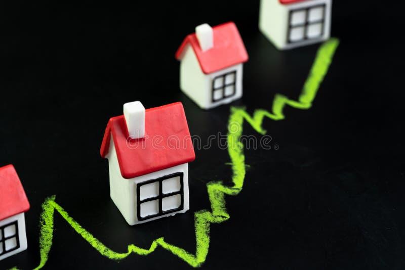 Het huis, het bezit of de onroerende goederenmarktprijs gaan of toenemend concept, klein miniatuurhuis met het groene lijngrafiek royalty-vrije stock foto
