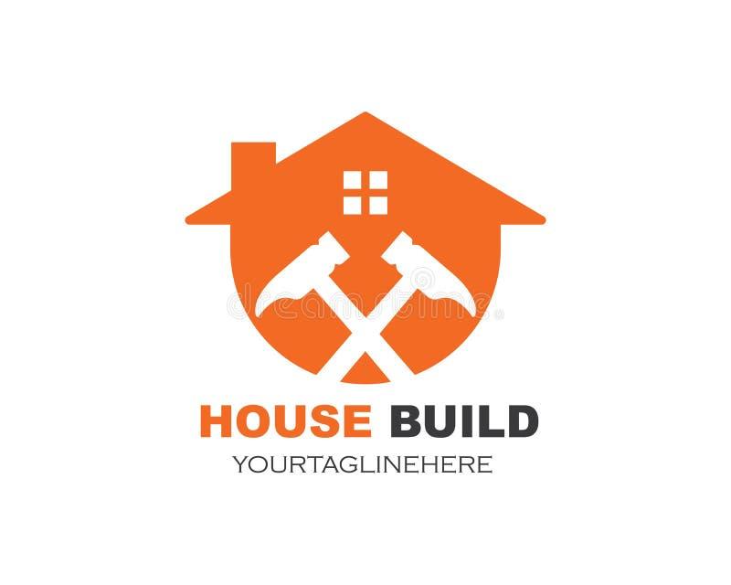 het huis bouwt en vernieuwings de vectorillustratie van het embleempictogram royalty-vrije illustratie