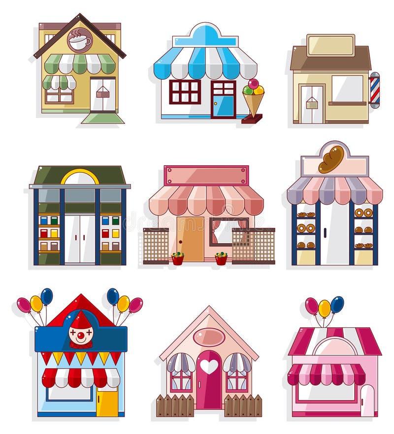 Het huis/de winkelpictogrammeninzameling van het beeldverhaal stock illustratie